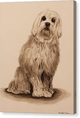 Ink Dog Canvas Print by Michelle Miron-Rebbe