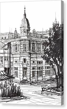 Ink Graphics Of An Old Building In Bulgaria Canvas Print by Kiril Stanchev