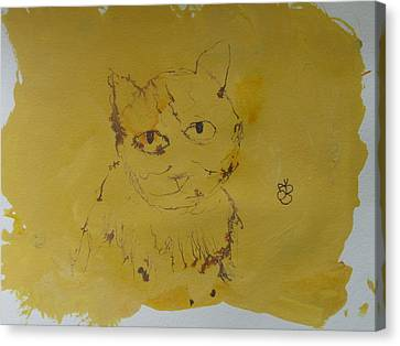 Canvas Print featuring the drawing Inked Cat 2 by AJ Brown