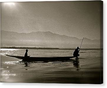 Inle Fishermen Canvas Print by Kim Pippinger