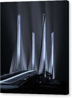 Inlet Bridge Light Trails In Cyan Canvas Print by William Bartholomew