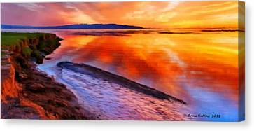 Canvas Print featuring the painting Inlet Sunset by Bruce Nutting