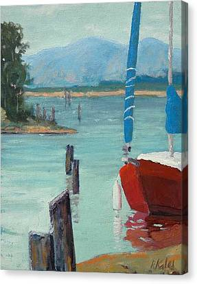 Inlet With Sailboat    Laconner Wa Canvas Print by Raymond Kaler