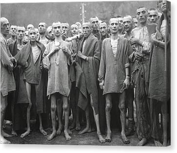 Inmates Of Ebensee Concentration Camp Canvas Print by Everett