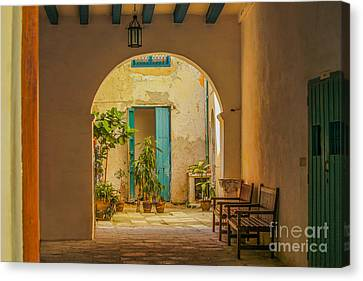 Inner Courtyard In Caribbean House Canvas Print by Patricia Hofmeester