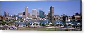 Inner Harbor Skyline Baltimore Md Usa Canvas Print by Panoramic Images