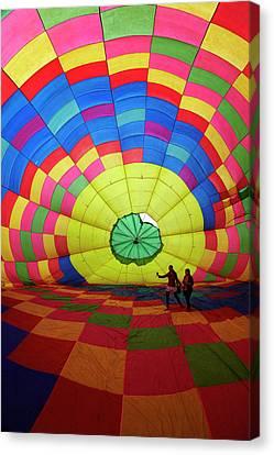 Inside A Hot Air Balloon, Balloons Canvas Print by David Wall