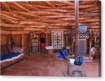 Inside A Navajo Home Canvas Print by Diane Bohna