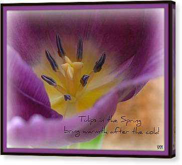 Canvas Print featuring the photograph Inside A Tulip by Heidi Manly