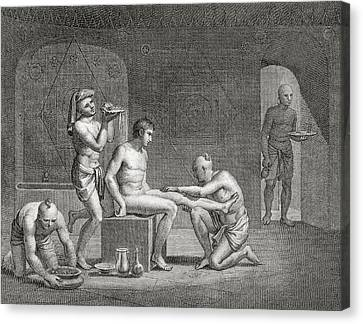 Inside An Egyptian Bathhouse, C.1820s Canvas Print by Dominique Vivant Denon