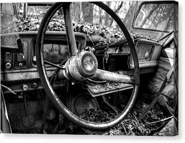Inside An Old Jeep In Black And White Canvas Print by Greg Mimbs