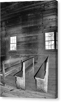 Inside Cades Cove Primitive Baptist Church Canvas Print by Dan Sproul