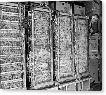 Inside Of Main Frame Computer Canvas Print by Underwood Archives