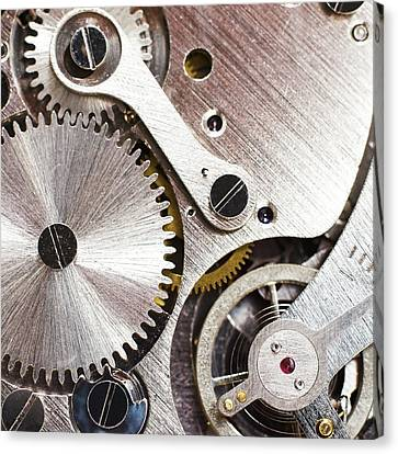 Inside Of Pocket Watch Canvas Print by Science Photo Library