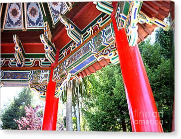 Inside Of The Stow Lake Pagoda Canvas Print by Jim Fitzpatrick