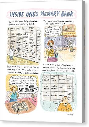 Brain Canvas Print - 'inside One's Memory Bank' by Roz Chast
