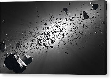 Inside The Asteroid Belt Against The Sun Canvas Print by Johan Swanepoel