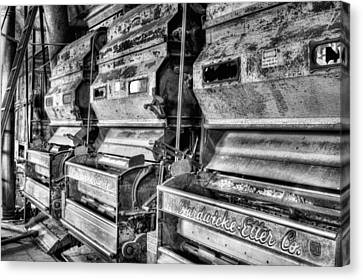 Inside The Cotton Gin Black And White Canvas Print by JC Findley