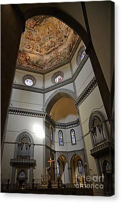 Inside The Duomo Of Florence Canvas Print by Sami Sarkis