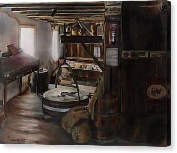 Old Feed Mills Canvas Print - Inside The Flour Mill by Lori Brackett