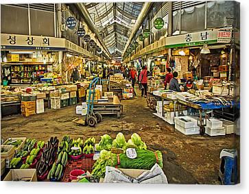 Inside The Gyeongdong Market At Seoul Canvas Print by Tony Crehan