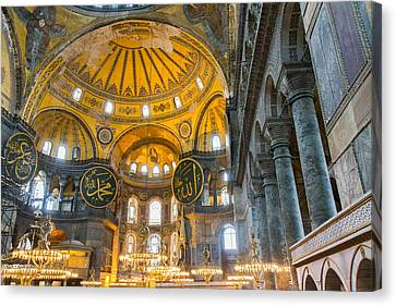 Inside The Hagia Sophia Istanbul Canvas Print by For Ninety One Days