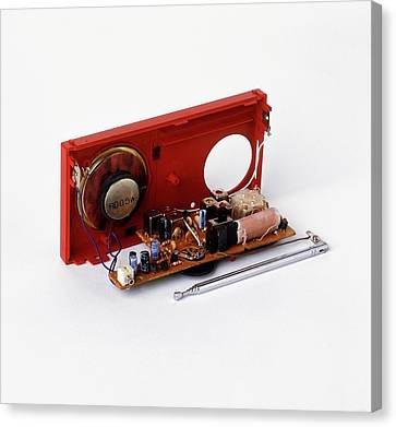 Insides Of A Portable Radio Canvas Print by Dorling Kindersley/uig