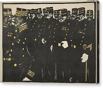 Inspection Of A Line Of Police Canvas Print by Georges d' Ostoya