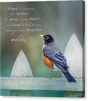 Inspirational Art - A Friend Is Canvas Print by Jordan Blackstone