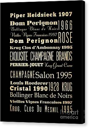 Inspirational Arts - Exquisite Champagne Brands Canvas Print