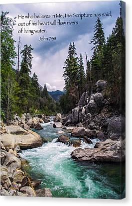 Inspirational Bible Scripture Emerald Flowing River Fine Art Original Photography Canvas Print by Jerry Cowart