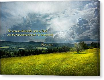 Inspirational - Eternal Hope - Psalms 19-1 Canvas Print by Mike Savad