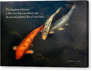 Inspirational - Gathering Fish Of Every Kind - Matthew 13-47 Canvas Print by Mike Savad