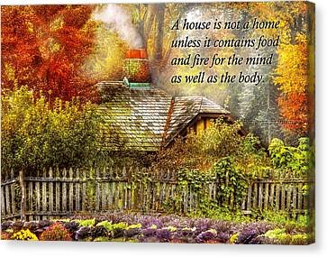 Inspirational - Home Is Where It's Warm Inside - Ben Franklin Canvas Print by Mike Savad