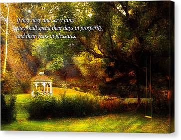 Parable Canvas Print - Inspirational - Prosperity - Job 36-11 by Mike Savad