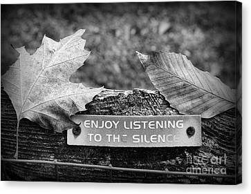 Inspirational Words To Live By In Black And White Canvas Print by Paul Ward