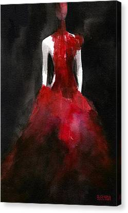 Red Dress Canvas Print - Inspired By Alexander Mcqueen Fashion Illustration Art Print by Beverly Brown Prints