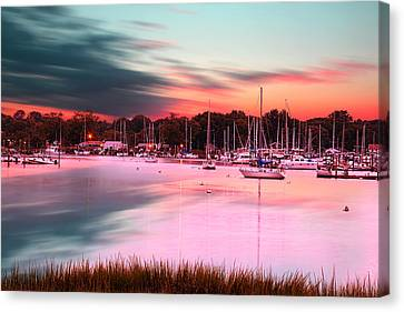 Inspiring View - Rhode Island At Dusk Warwick Neck Marina Harbor Sunset Canvas Print by Lourry Legarde