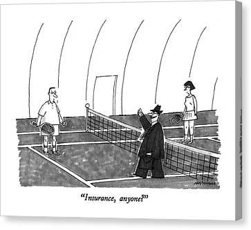 Tennis Canvas Print - Insurance, Anyone? by Mick Stevens