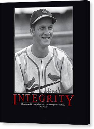 Glove Canvas Print - Integrity Stan Musial by Retro Images Archive
