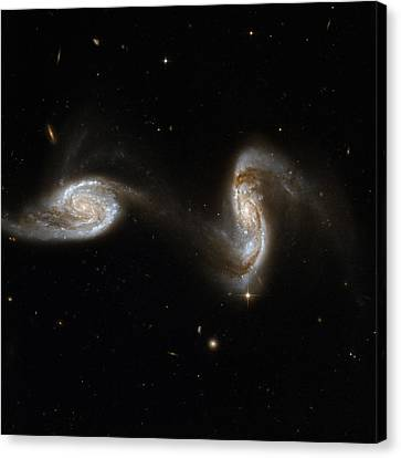 Interacting Pair Of Spiral Galaxies Canvas Print by Celestial Images