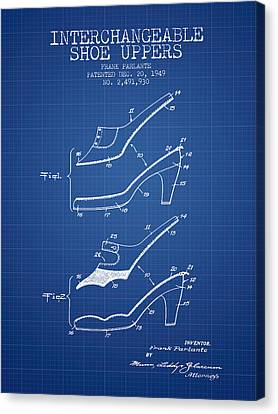 Interchangeable Shoe Uppers Patent From 1949 - Blueprint Canvas Print
