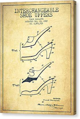 Interchangeable Shoe Uppers Patent From 1949 - Vintage  Canvas Print