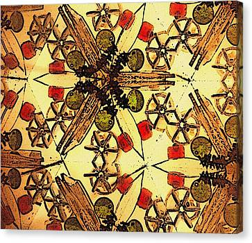 Interconnected Stars Inside A Kaleidosope Canvas Print by Sandra Pena de Ortiz