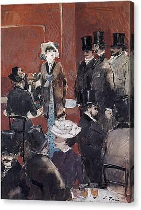 Interieur De Cafe Canvas Print by Jean-Louis Forain