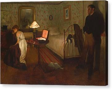 Oil Lamp Canvas Print - Interior By Edgar Degas by Georgia Fowler