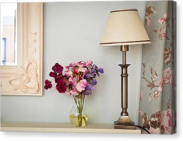 Rose Patterned Curtains Canvas Print - Interior Decor by Tom Gowanlock