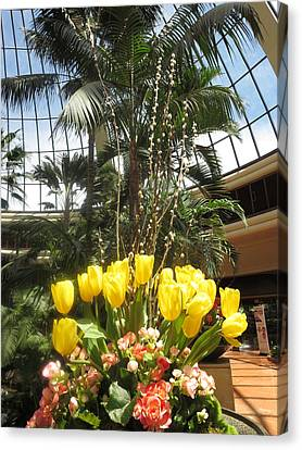 Canvas Print featuring the photograph Interior Decorations Butterfly Gardens Vegas Golden Yellow Tulip Flowers by Navin Joshi