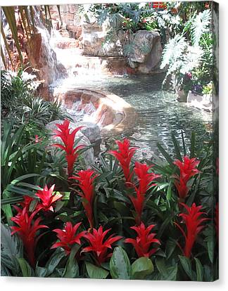 Canvas Print featuring the photograph Interior Decorations Water Fall Flowers Lights Shades by Navin Joshi