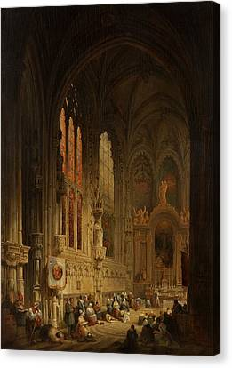 Interior Of A Cathedral, 1822 Or 1829 Canvas Print by David Roberts